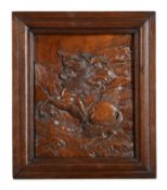 A carved oak relief plaque of Napoleon Crossing the Alps