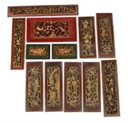 Twelve various Chinese gilt wood carved panels