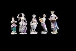 A group of five Meissen figures