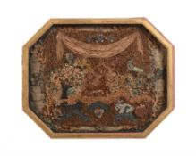 A George III paper scrollwork picture of a landscape with animals
