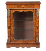 A Victorian figured walnut and specimen marquetry pier cabinet