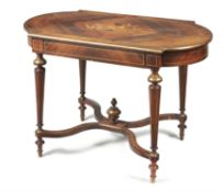 Y A rosewood and gilt brass mounted centre table
