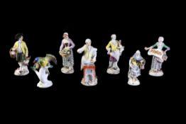 Six various Meissen models of street vendors