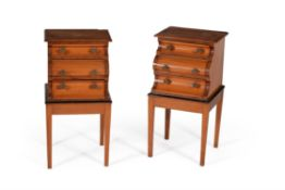 Y A pair of satinwood and rosewood banded bedside cabinets