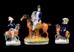 A group of three Staffordshire equestrian figures