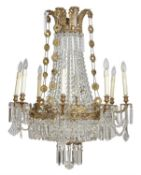 A cut glass and gilt metal eight branch chandelier in Charles X taste