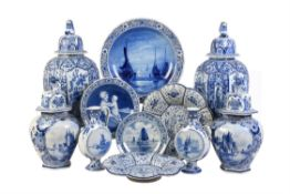 A mixed selection of later blue and white Dutch Delft