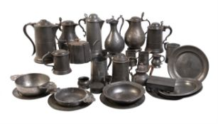 A large collection of approximately thirty items of pewter
