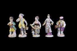 Five various Meissen figures including children