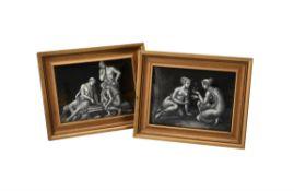 A pair of Limoges enamel plaques en grisaille