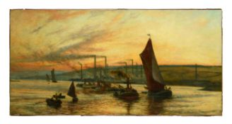 British School (c. 1900), Evening and Ebb Tide, Wickham Reach on the Medway