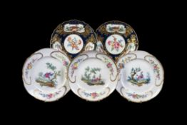 A pair of Worcester blue-scale ground and gilt plates of Lady Mary Wortley Montagu type