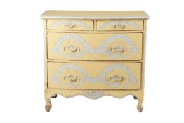 A French cream and blue painted chest of drawers