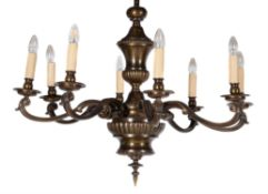 A bronzed metal chandelier in 18th century Continental taste