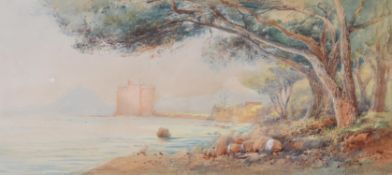 Ainslie Bean (British fl. 1870-1880), Cannes from Île Sainte-Marguerite; Castle of Île Saint-Honorat