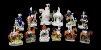 Twelve various Staffordshire pottery equestrian figures