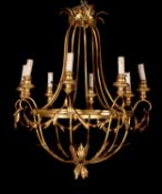 A gilt metal eight light chandelier