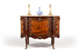 A French mahogany, marquetry and gilt metal mounted commode