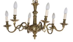 A North European brass six-light chandelier