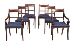 A set of six mahogany dining chairs