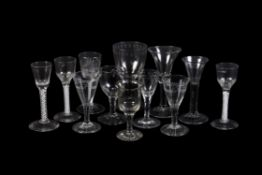 A miscellaneous selection of mostly English drinking glasses