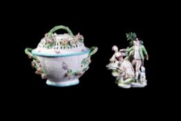 A Derby porcelain two-handled ozier-moulded and flower-encrusted basket and pierced cover