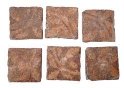 A set of six encaustic decorated tiles