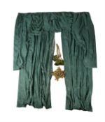A pair of green lined curtains