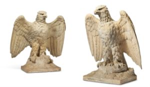 A PAIR OF DOULTON LAMBETH STONEWARE MODELS OF EAGLE DISPLAYED PIER FINIALS