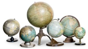 A COLLECTION OF SIX TERRESTRIAL GLOBES, BY VARIOUS MAKERS