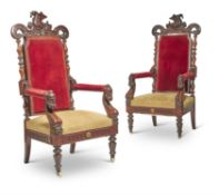 A PAIR OF CONTINENTAL CARVED WALNUT ARMCHAIRS, CIRCA 1870
