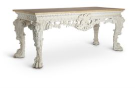 A PAIR OF GEORGE II STYLE CARVED, PAINTED AND GESSO PIER TABLES