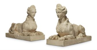 A PAIR OF PAINTED PLASTER MODELS OF SPHINXES TO DESIGNS BY ROBERT ADAM, 20TH CENTURY