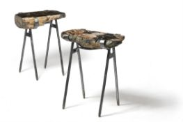 A PAIR OF POLISHED METAMORPHIC ROCK AND METAL MOUNTED SIDE TABLES