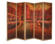 A LARGE FIVE FOLD SCREEN,LATE 19TH OR 20TH CENTURY