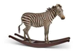 Y [Taxidermy] 'THE ORIGINAL AYNHOE ROCKING ZEBRA' BY JAMES PERKINS