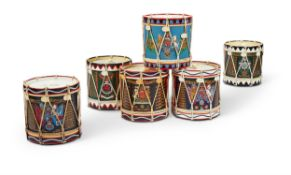 SIX REGIMENTAL DRUM ICE BUCKETS AND LIDS, LATE 20TH CENTURY