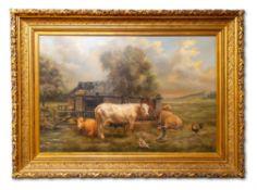 λ H. BALE (20TH CENTURY), COWS RESTING OUTSIDE A BARN, WITH AYNHOE PARK IN THE DISTANCE