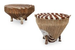 A NEAR PAIR OF AFRICAN ZEBRA SKIN DRUM TABLES