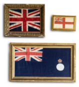 A GROUP OF THREE ASSORTED GILT FRAMED FLAGS