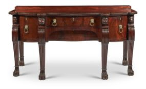 A GEORGE IV CARVED MAHOGANY SIDEBOARD, CIRCA 1825