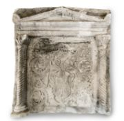 A PLASTER ARCHITECTURAL SARCOPHAGUS RELIEF