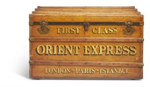 A RAILWAY OR STEAMER TRUNK , EARLY 20TH CENTURY