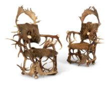 A PAIR OF ANTLER THRONE CHAIRS, 20TH CENTURY