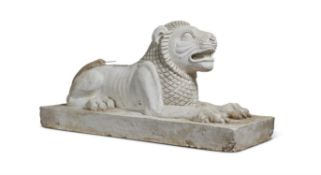 A PLASTER MODEL OF A RECUMBENT LION 20TH CENTURY