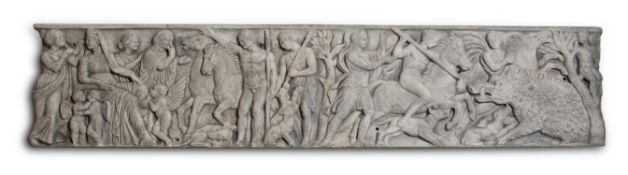 A LARGE PLASTER PANEL MOULDED WITH A SCENE OF THE CALYDONIAN BOAR HUNT, EARLY 20TH CENTURY