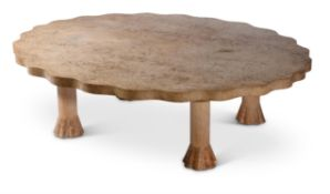 AN OAK AND BURR OAK SHAPED CIRCULAR COFFEE TABLE, BY JOHN MAKEPEACE