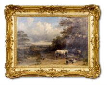 JOHN DEARMAN (BRITISH ACTIVE 1824-1857), HORSES WITH PIGS, DUCKS AND A SHEPHERD IN A LANDSCAPE