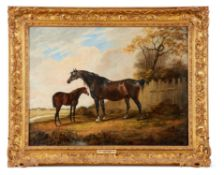 ATTRIBUTED TO DEAN WOLSTENHOLME (BRITISH 1798-1882), HORSE AND FOAL IN A PARKLAND