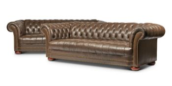 A PAIR OF RALPH LAUREN BROWN LEATHER UPHOLSTERED SOFAS, EARLY 21ST CENTURY